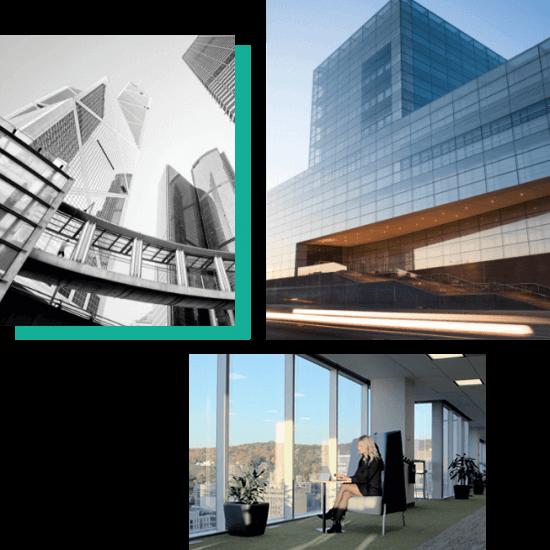 Trois photos de bâtiment